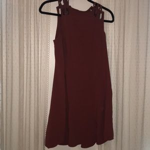 free people maroon dress with back cutout